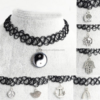 Fashion vintage stretch tattoo henna choker hippy necklace with pendant