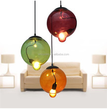 Dubai Project Fancy Modern Clear / Amber / Blue / Yellow Glass Ball Finish Pendant Lamp, Hotel Restaurant Globe Hanging Lights