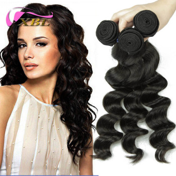One Donor Peruvian Human Hair Bundles Loose Curly Virgin Hair Weft