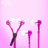 Metal Zipper Earphone Headphones 3.5mm In-Ear Wired Ear Phones With Microphone Stereo Bass Headset For Mobile Phone MP3/4