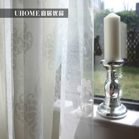 nature style embroidery tree pattern solid color voile curtain wholesale sheer curtain