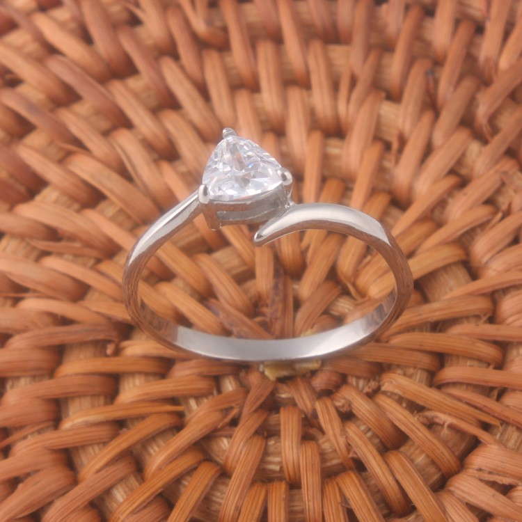women fashion stainless steel CZ ring