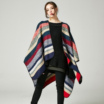 Hot selling fashion double sides acrylic cloak poncho