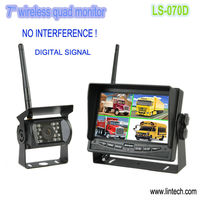 2013 New !! waterproof 7'' wireless quad monitor reversing video system for ambulance
