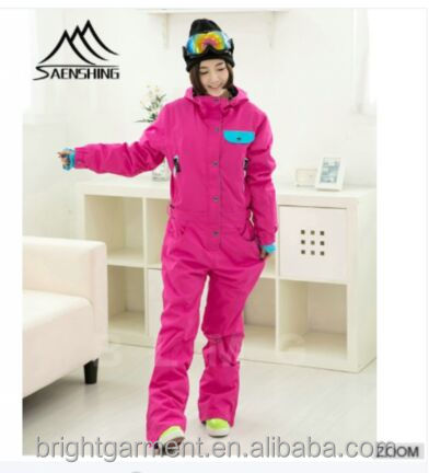 BSO-002 pink one piece snow suits adults women slim ski wear Anhui Hefei factory made