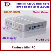 Kingdel Intel i5-4200U CPU Mini Computer, HTPC, 4*USB 3.0, Fanless, Barebone, 1920*1080, 300M WiFi, Blue-ray Supported