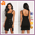 China Products Small Quantity Black Hi-Lo Lace Up Bodycon Mini Dress