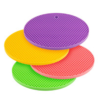 Amazing 18*18cm Durable Silicone Round Non-slip Heat Resistant Mat Coaster Cushion Placemat Pot Holder