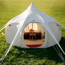 5m luxury canvas bell lotus tent for family camping sale