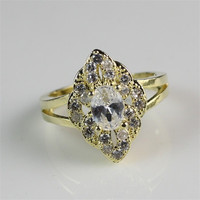 Pretty Girl's White Clear Zircon Diamond Inlay Fashion Gold Plated Jewelry Ring