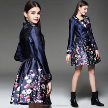 European and American fashion small floral printed double-breasted laple coat