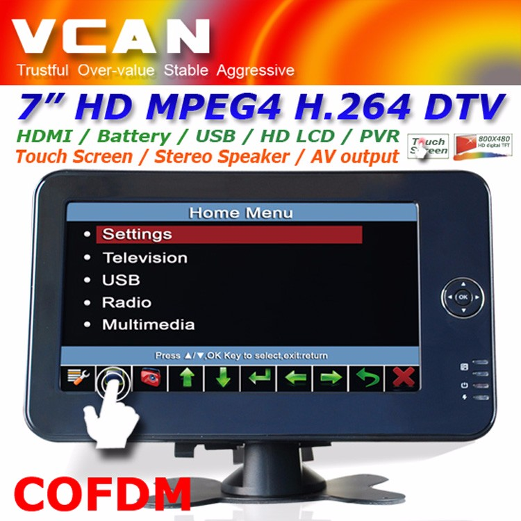 WV-7012HD cofdm sdi wireless video transmitter 7 inch handheld portable