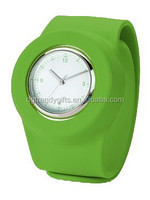 Classic Green Geneva Slap Silicone Quartz Analog Watches Customized Pack With Blister Box
