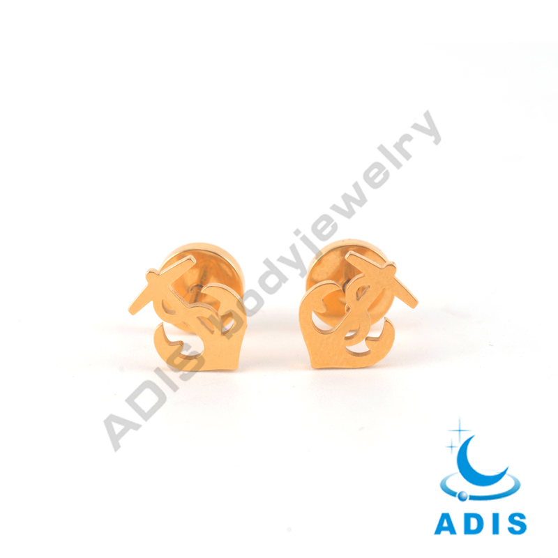 Wholesale body jewelry gold plated anchor fake ear tunnel studs