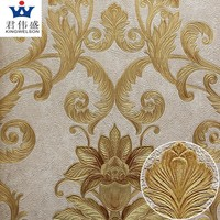 Italian deep embossed 3d wallpaper vinyl coated wallpaper