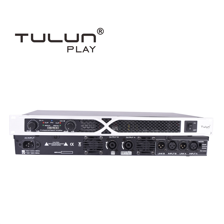 Tulun play DS500-2 2CH 1U 500 <strong>w</strong> 500w pa power amplifier audio amplifier kits
