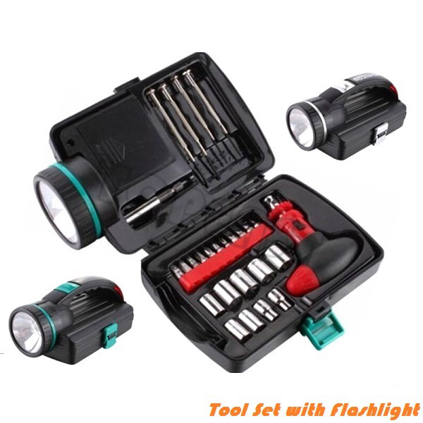 Emergency Tool Kit with Flashlight, 26pc Home Auto Tool Set with Case
