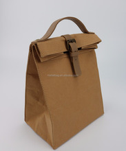 Fanshion recycled brown color washable kraft paper insulated lunch bag new design lunch cooler bag