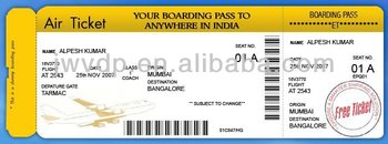 art paper thermal plane Ticket Sales (boat tickets) with die cut line