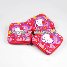 Charming decorative square zip tin box for CD storage