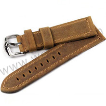 Brown leather features easily interchangeable leather watch strap cover