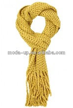 Chinese wholesale suppliers solid color yellow acrylic knit lady scarf
