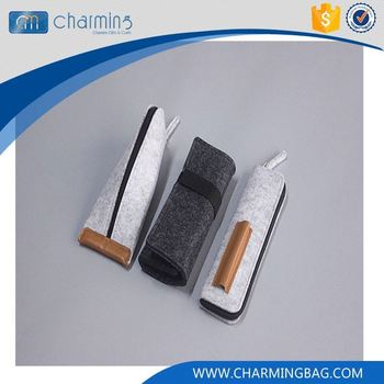Hot sale trendy style different style gray black zipper or rope pen felt bag