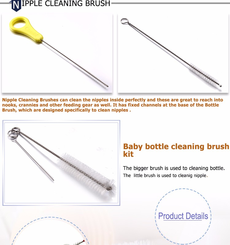 Round Wire BPA Free Baby Feeding Bottle Cleaning Brush