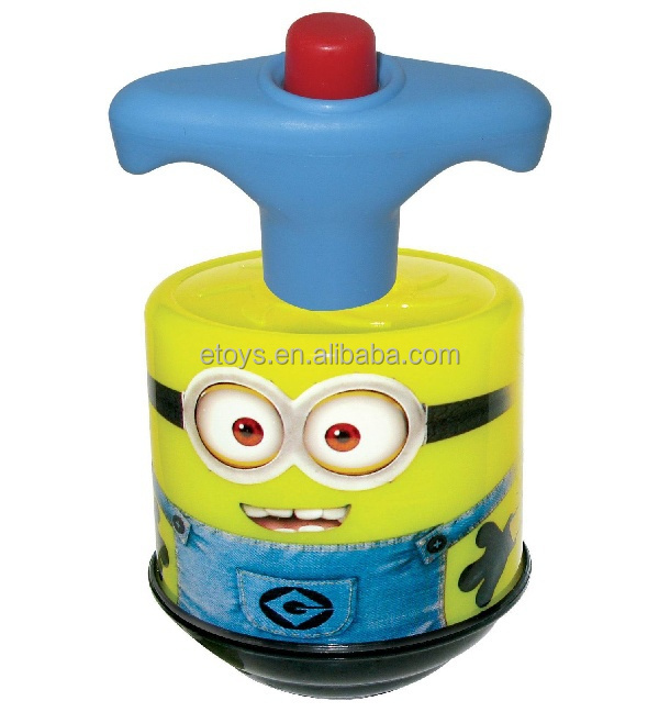 Hot new products for 2015 children toys muisc funny despicable me minion spin top w/ light & music more dynamic