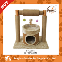 2015 new design bamboo cat tree condo house for cat