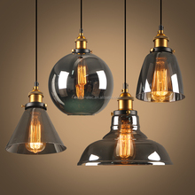 Glass LED Ceiling Light Vintage Home Decor Pendant Lighting, Amber Clear Smokey Grey Small Chandelier Hang Lamp