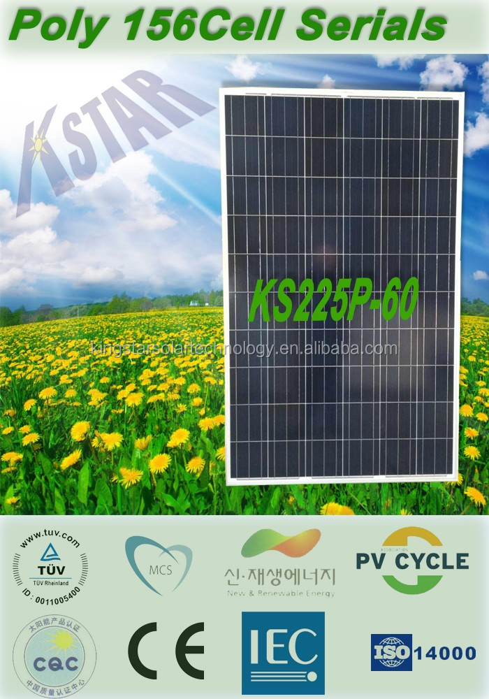 A grade PV panels from YIWU Poly 220w solar panel/module price(KS220P-60) manufacturers in China