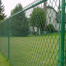 Green pvc coated chain link wire mesh animal protection fencing for sale