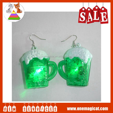 Cheap Hot Sales Ireland Style Light Up Beer Cup Ear Studs Earring