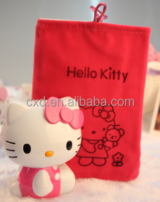Red Hello Kitty velvet bags with drawstring
