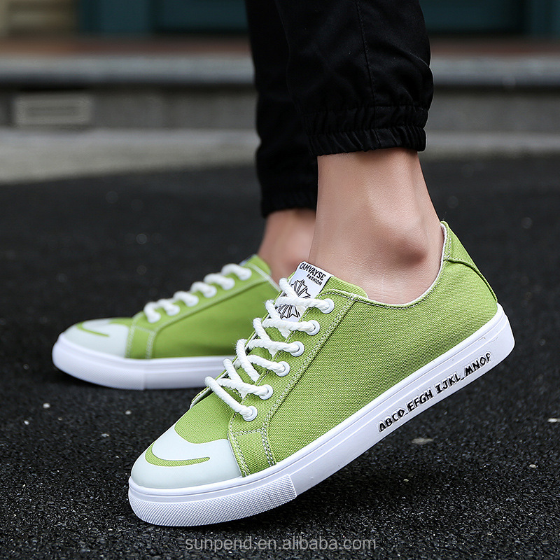 Factory price low cut autumn and spring simple blank canvas shoes white men shoe