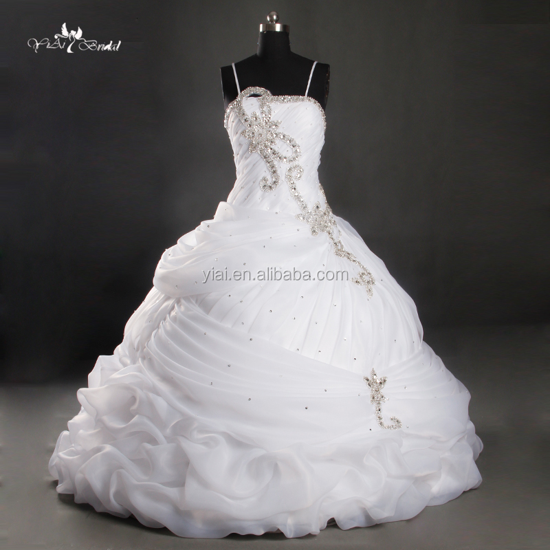RQ119 Supplier Custom Made Beaded Crystal Ball Gown White Wedding Dresses In Dubai 2015