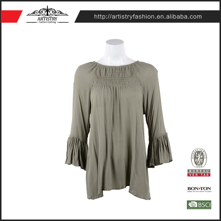 Custom design fit solid color pleat latest fashion model blouse design