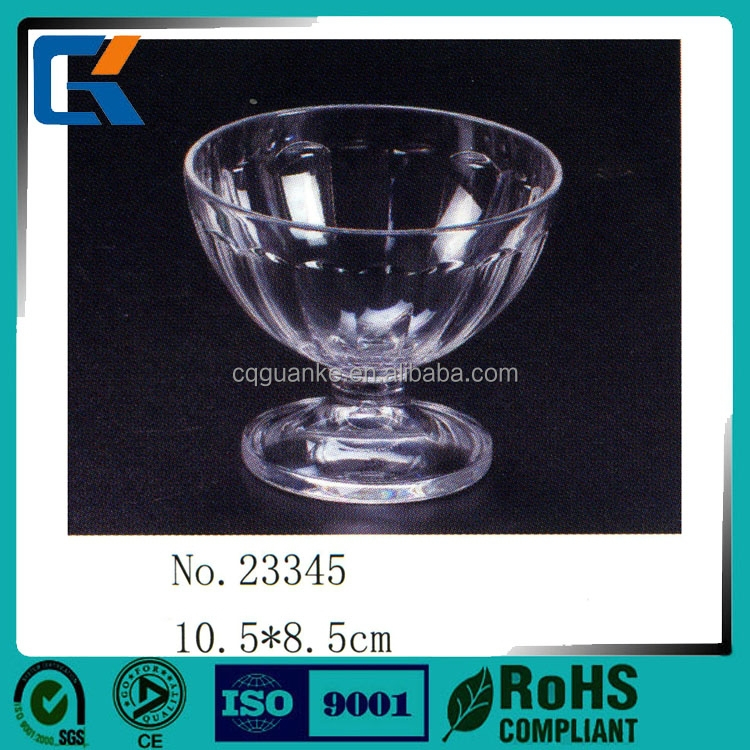 Large round plastic bowl acrylic ice cream glass for wedding