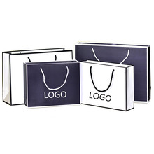 Matt Black White Border Fashion Chain Stores Horizontal Version <strong>Paper</strong> Bag With PP Handle