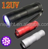 12 LED UV flashlight Metal aluminum led flashlight torch LED torch light