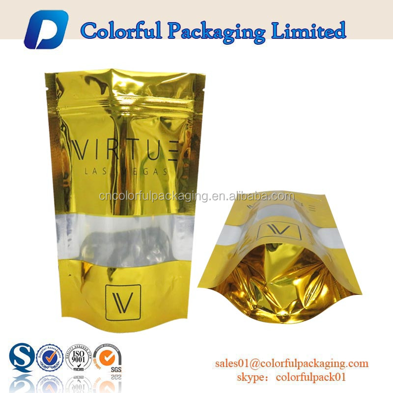food grade stand up gold aluminum foil resealable zipper laminated plastic bag with tear notch printed for meat pork beef