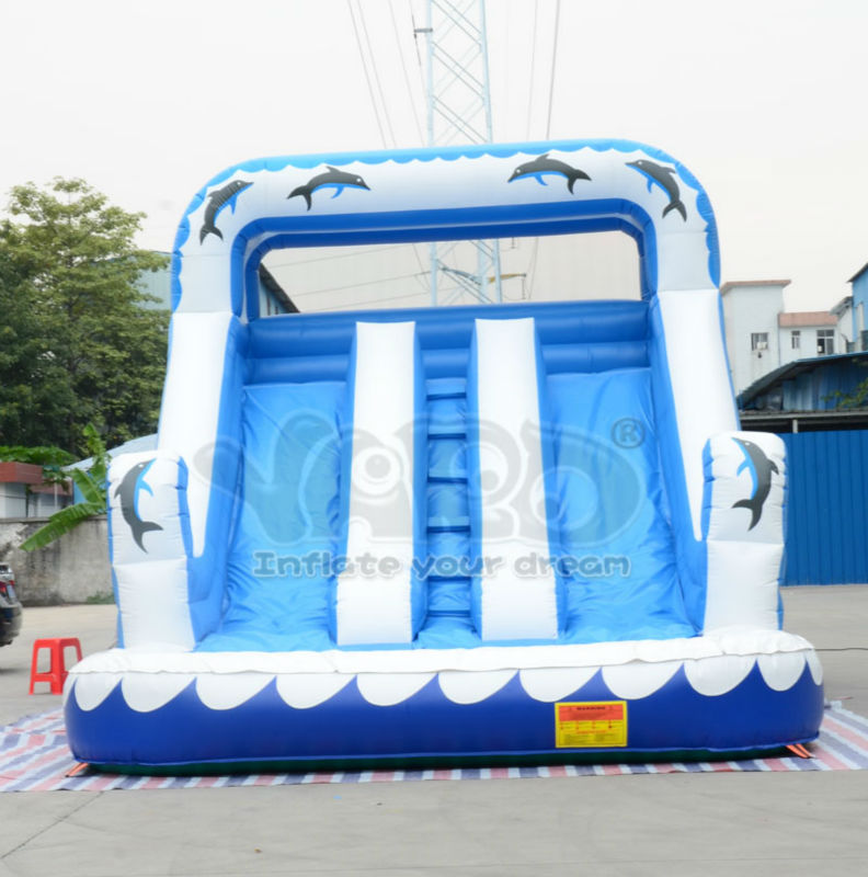Dolphin inflatable slide,giant inflatable water slide with pool