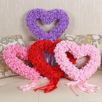 foam rose flower heart shape wreath