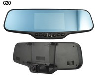 "Dual Lens C20 Car DVR Rearview Mirror Camera Novatek 96650 Full HD 1080P 30FPS 12.0MP CMOS 4.3""LCD 170 Degree View Angle"