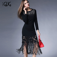 Chinese manufacturer hot sale ladies lace dress designs ladies black tassels skirt tassels skirt dress 2E01