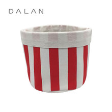 Collapsible laundry basket canvas with red stripe pattern