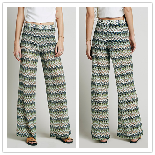 2016 Summer Indian Style Chevron Printed Plastic Loose Fit Palazzo Pants for Woman NT6225