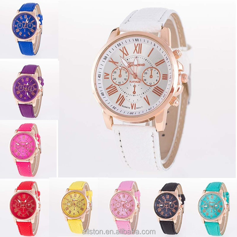 Floral Flower Geneva Ladies Rubberized Coated Alloy Metal Geneva Vogue Watch Women lady leather watch women