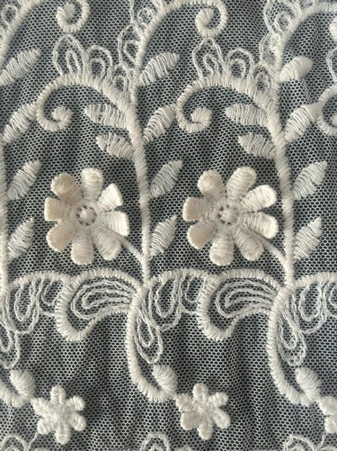 3D cotton nylon net mesh embroidery lace fabric